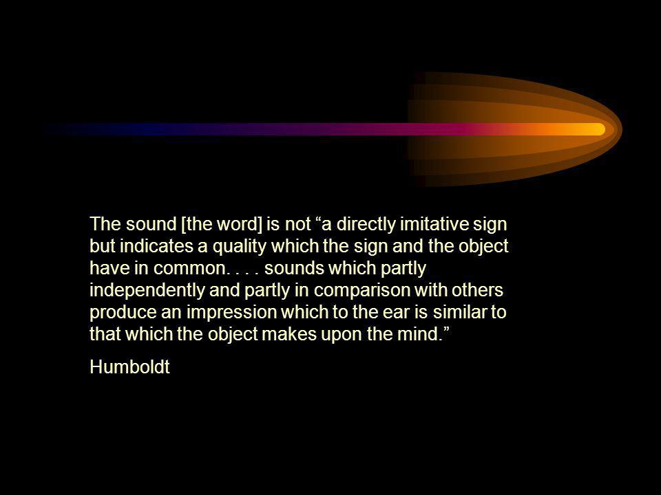 The sound [the word] is not a directly imitative sign but indicates a quality which the sign and the object have in common. . . . sounds which partly independently and partly in comparison with others produce an impression which to the ear is similar to that which the object makes upon the mind.